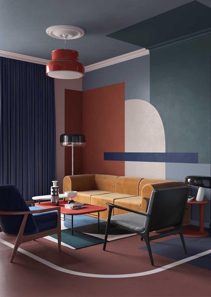 Sala decorada com parede geométrica para garantir aquele ar moderno