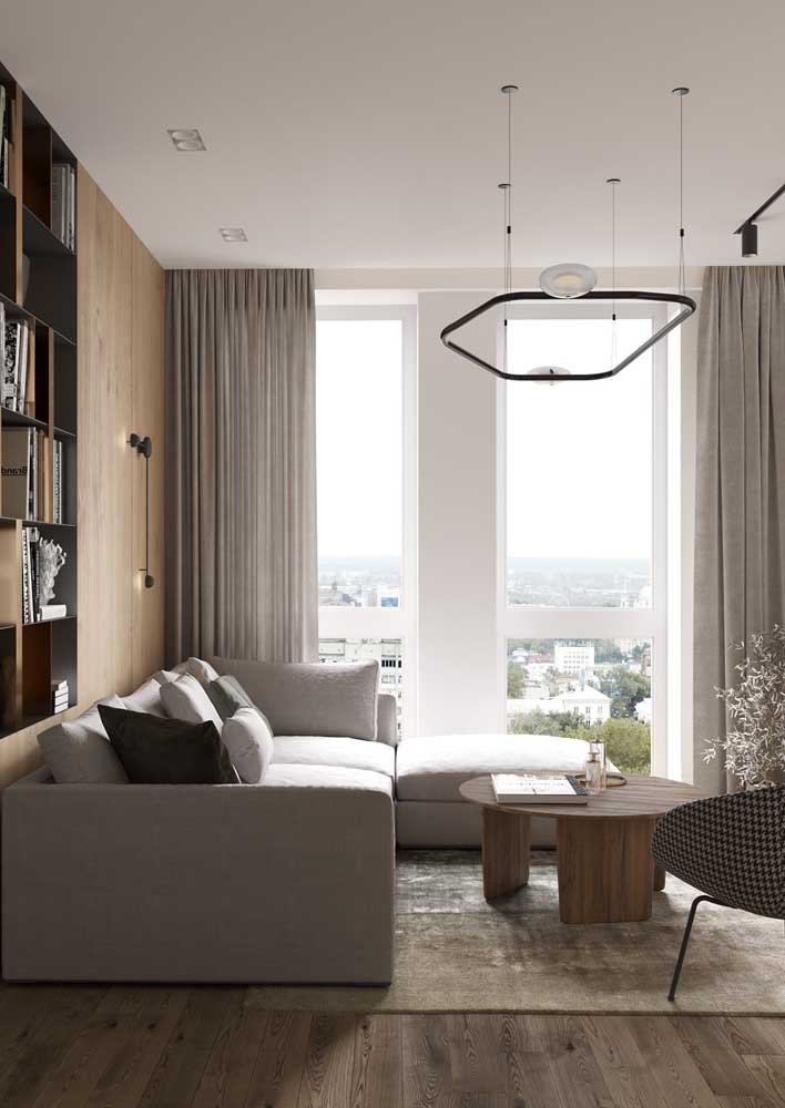 As cortinas são parte fundamental da sala decorada