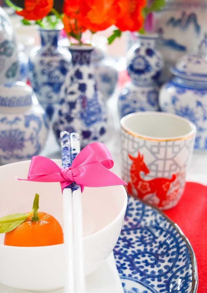Tangerinas sobre a mesa para recepcionar os convidados