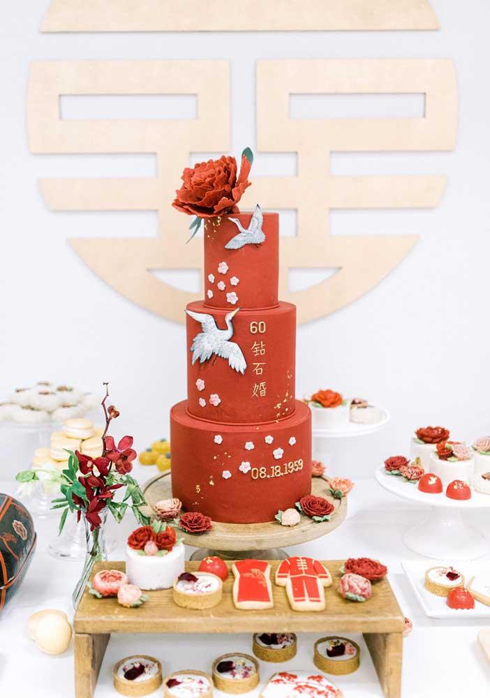 Aqui, o bolo não poderia ser de outra cor!