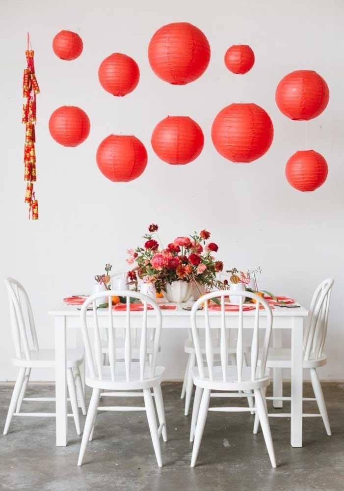 Decoração de mesa para o jantar em família do ano novo chinês