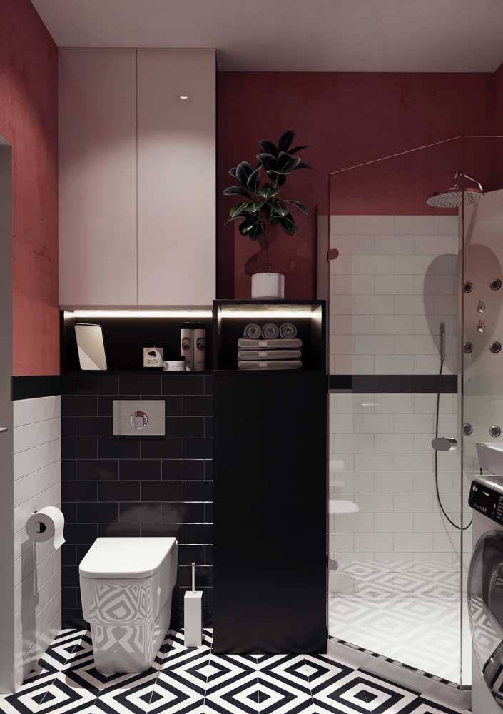 Armário preto pequeno para banheiro: resolve toda a organização e não ocupa espaço