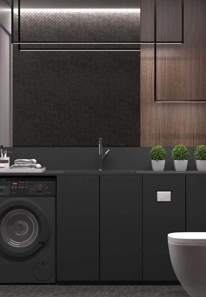Armário preto para um banheiro moderno e pra lá de elegante