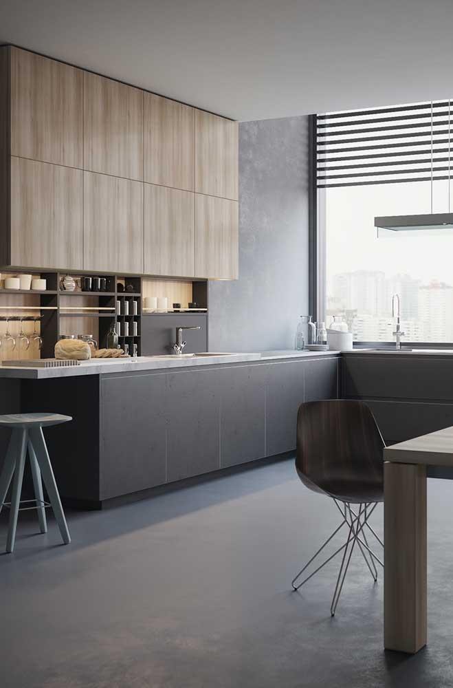 Cozinha moderna e minimalista decorada com nichos simples
