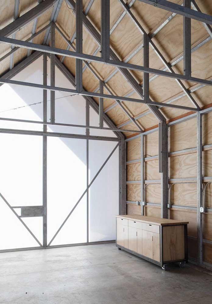 Garagem moderna combina com piso de concreto
