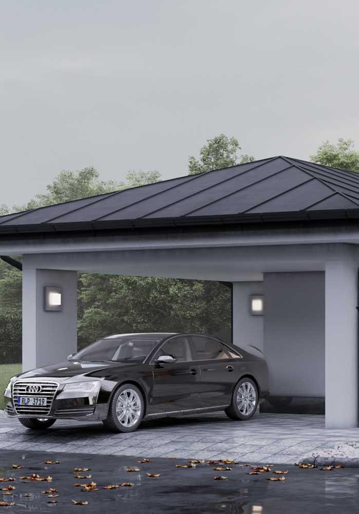 Garagem pequena e piso cerâmico
