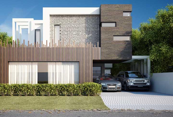 Casa moderna com piso intertravado na garagem