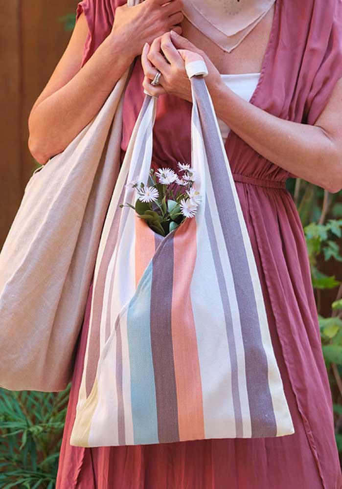 Sacola de tecido para um artesanato sustentável