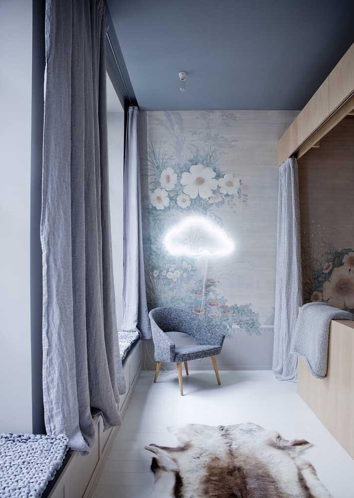 Cortina para quarto infantil seguindo a cor usada na decoração