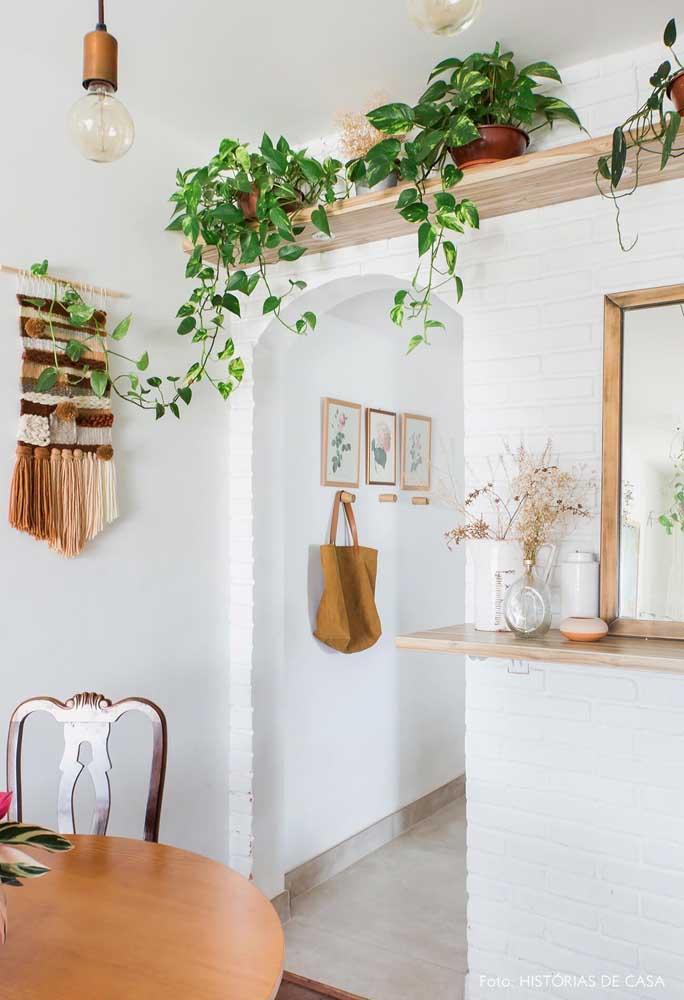 Prateleira alta com jiboias para decorar a sala de jantar