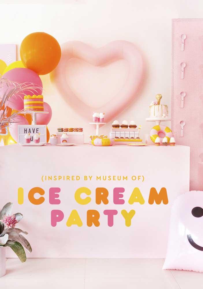 Festa do sorvete em tons de rosa