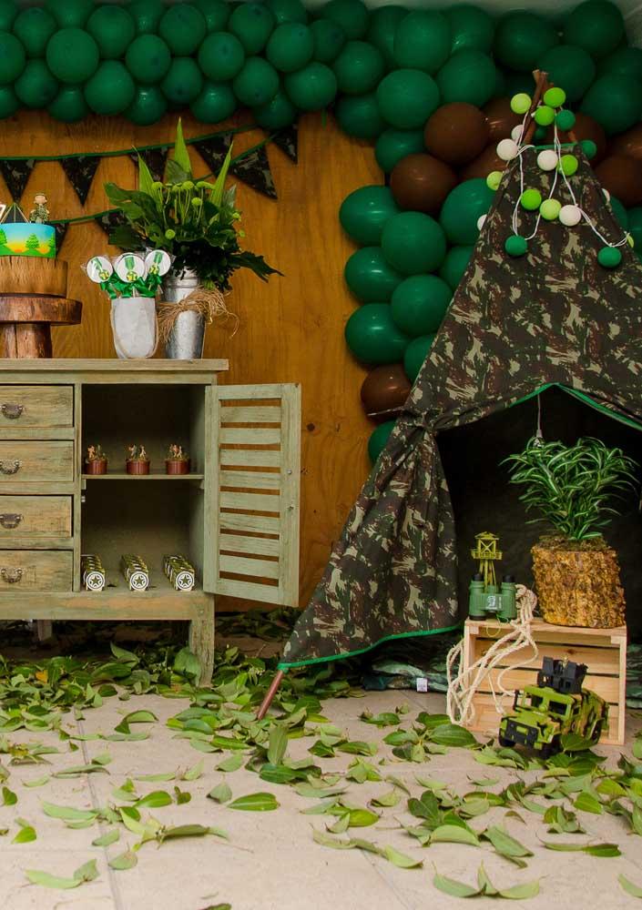 A cabana de acampamento faz parte da festa também!