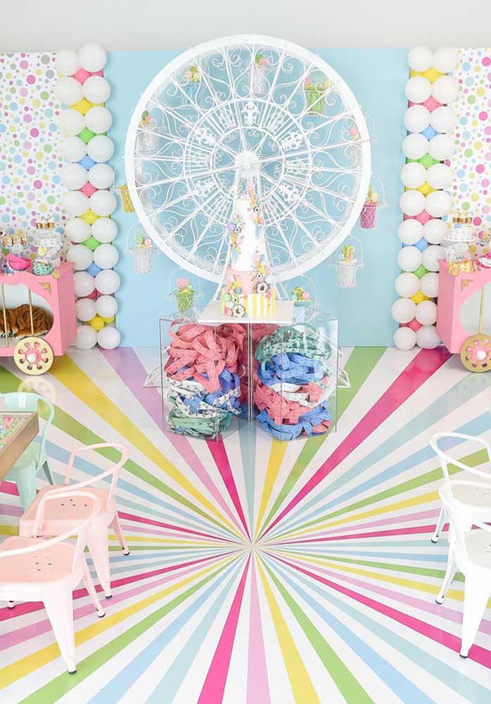 Parque de diversões tem que ter cor e doces para ser completo
