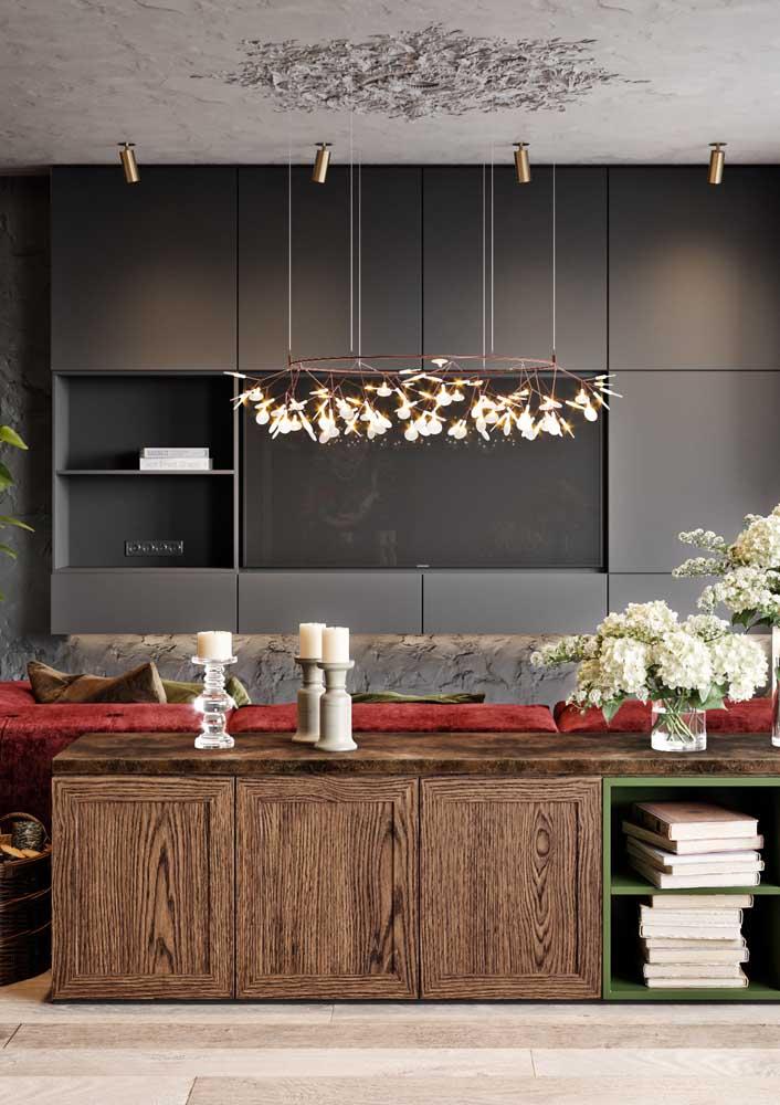 Painel para sala preto: projeto elegante e moderno