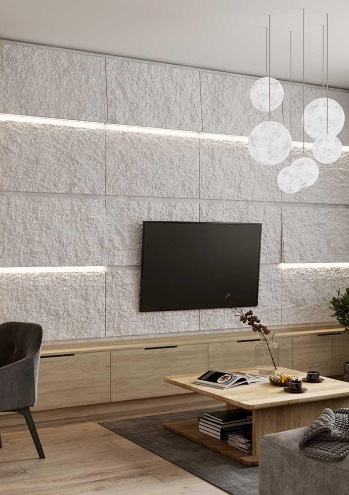 Painel de gesso com efeito 3D e iluminação