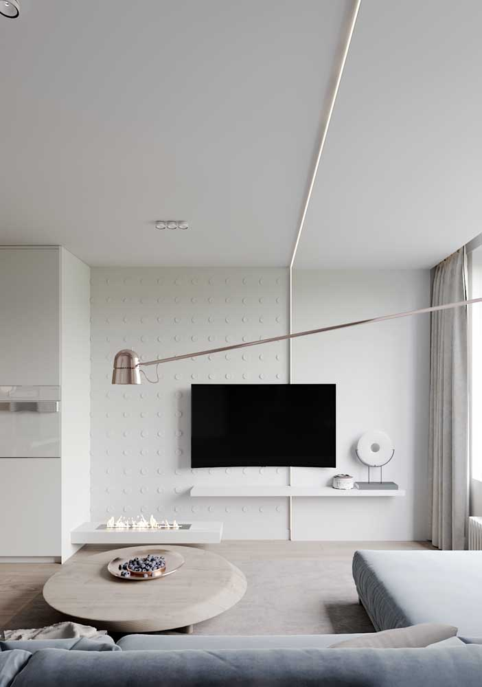 Painel para sala branco bem discreto e minimalista