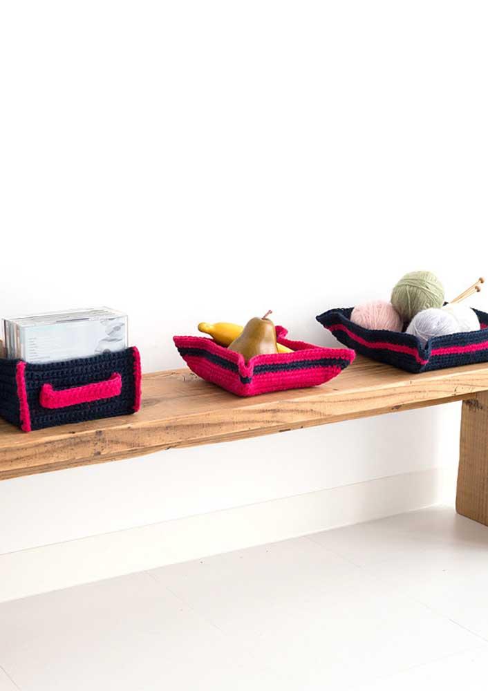 Cestas e caixas organizadoras de crochê para facilitar o dia a dia