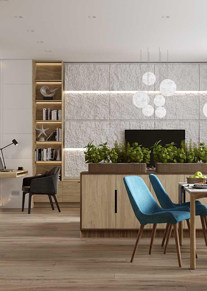Decoração de sala pequena integrada com sala de jantar