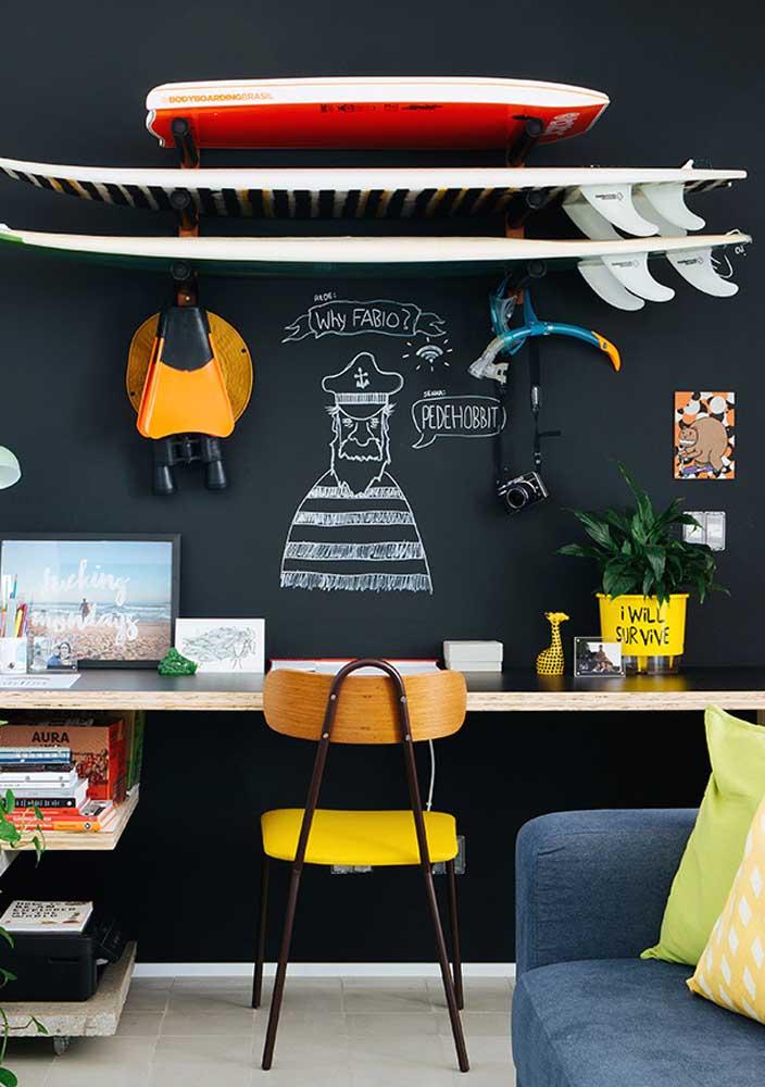 Uma parede que também funciona como pano de fundo para o home office