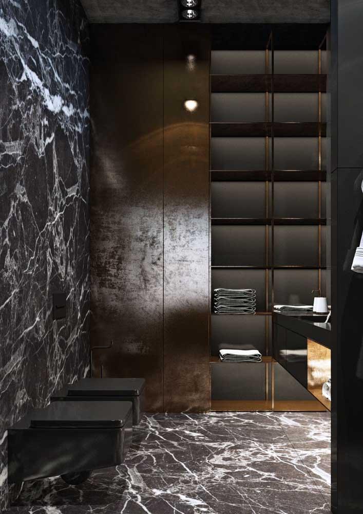 Banheiro decorado com um toque bem masculino