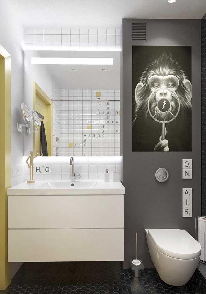 Banheiro decorado pequeno e moderno