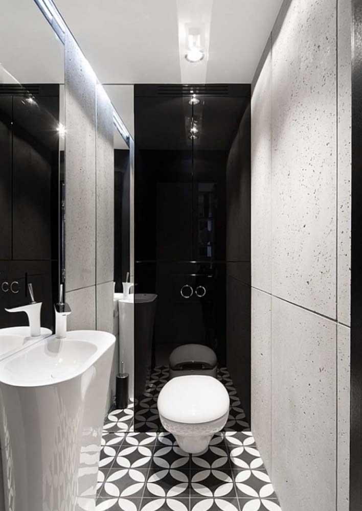 Banheiro decorado em preto e branco: o clássico dos clássicos