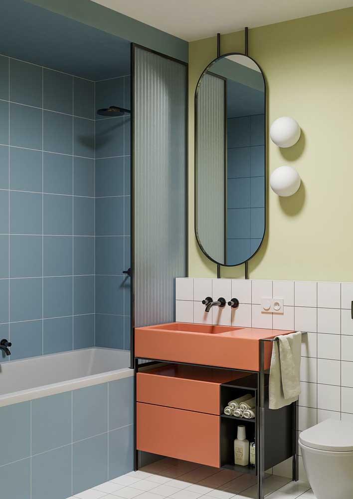 Cores suaves para o banheiro de inspiração retrô