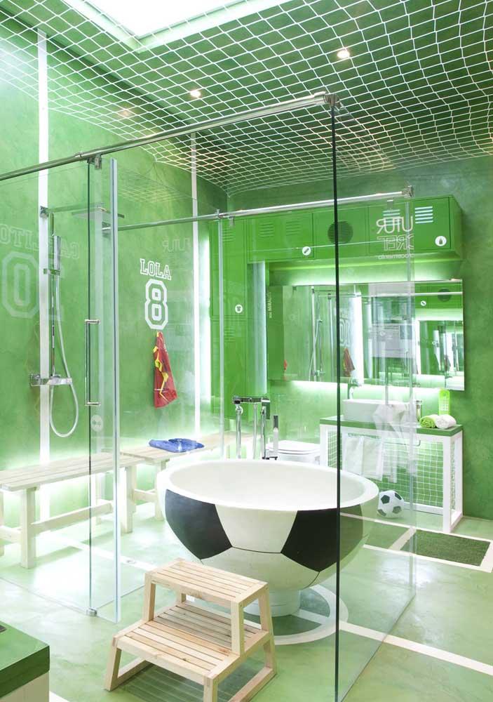 Um banheiro futebolístico! Escolha o seu tema e seja feliz