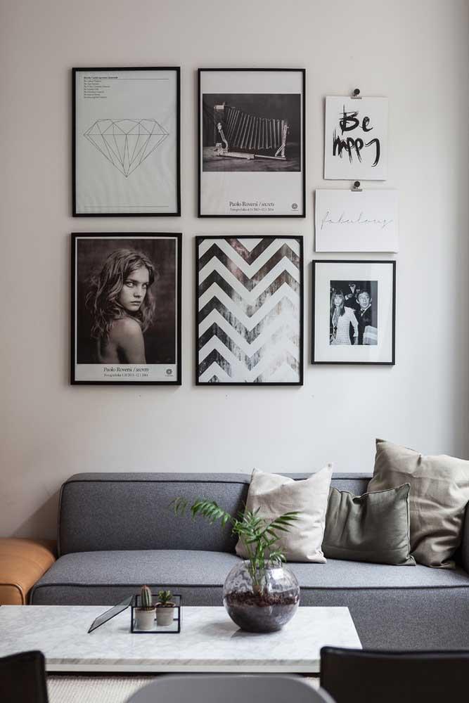 Quadros Tumblr para sala em preto e branco: expressão dos moradores
