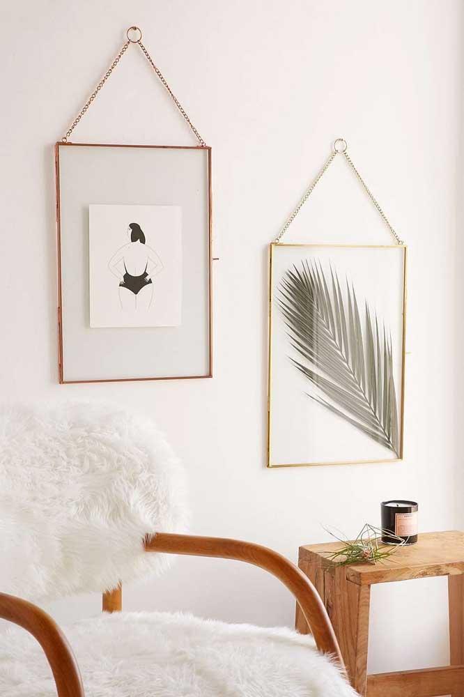 Que tal você mesmo fazer seu quadro Tumblr? Imprima as imagens ou, no caso de inspirações botânicas, use uma folha de verdade