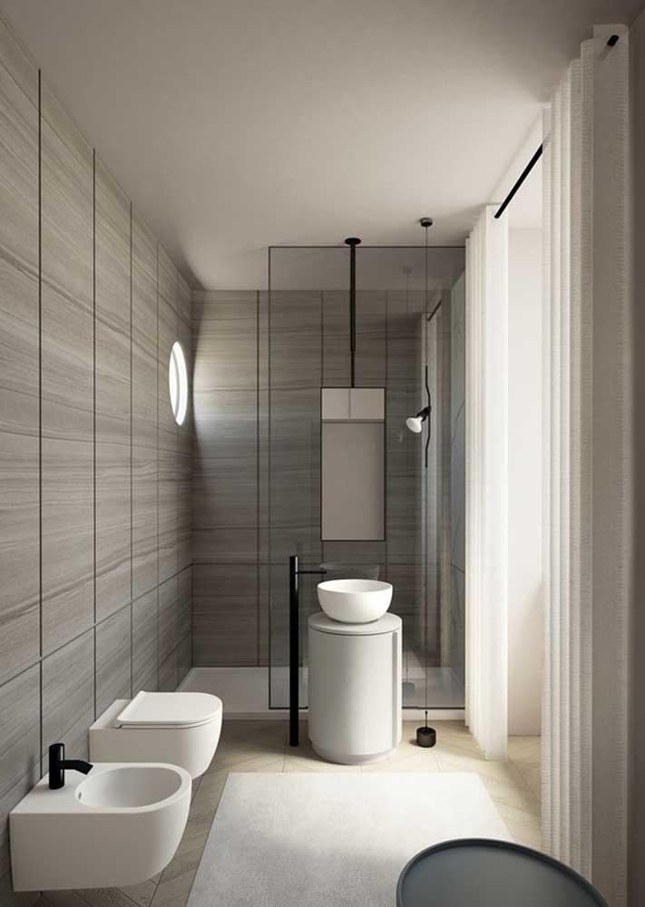 Banheiro cinza e bege: o encontro perfeito entre o clássico e o moderno