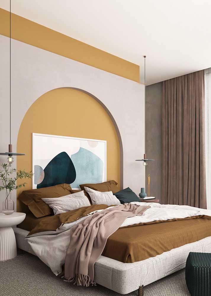 Os tons terrosos também causam essa sensação de aconchego na decoração do quarto de casal
