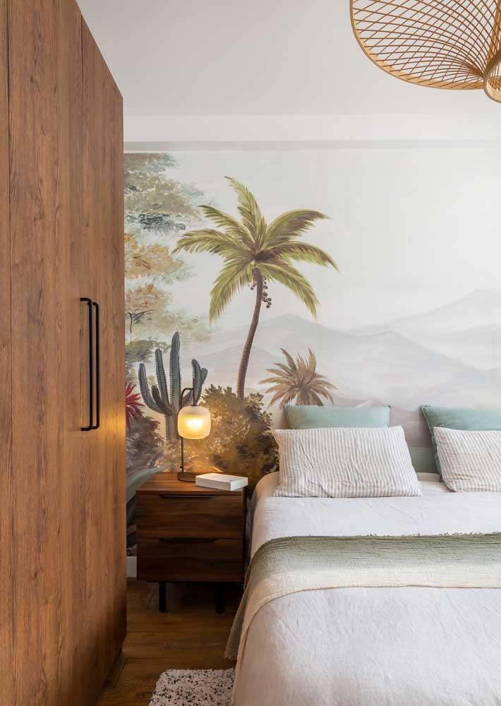 Um painel de paisagem para trazer beleza e conforto ao quarto