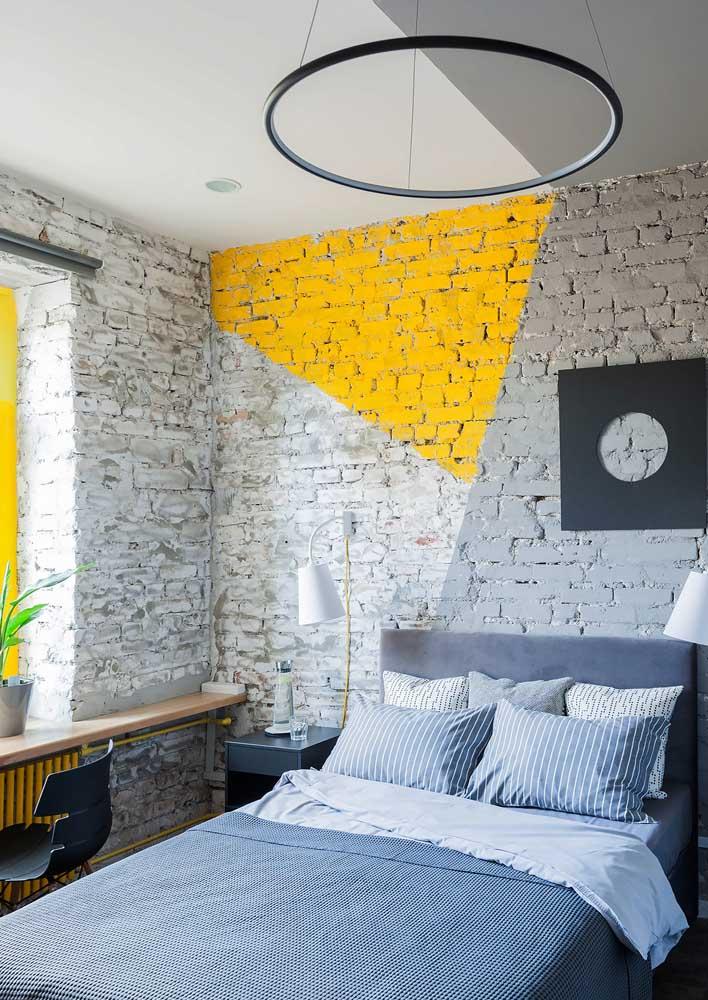 Parede de tijolinhos para o quarto de casal moderno