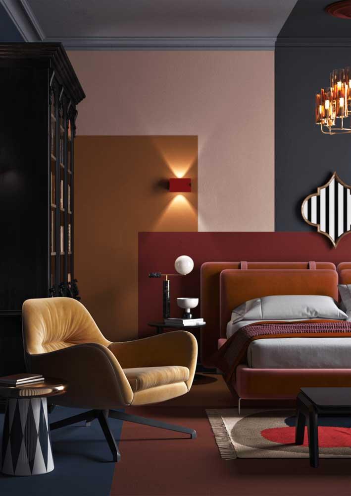 Cores e figuras geométricas decoram esse quarto moderno de casal