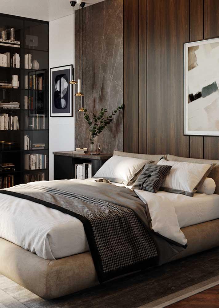 Madeira e mármore para uma decoração de quarto de casal clássica