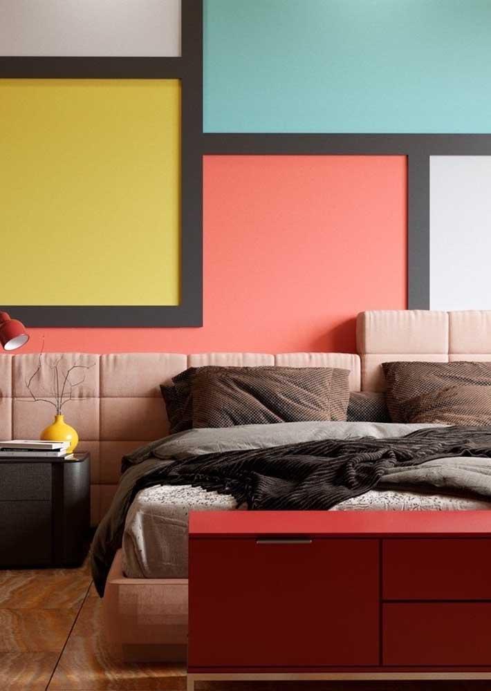 Um quarto colorido, artístico e decorado para casais modernos