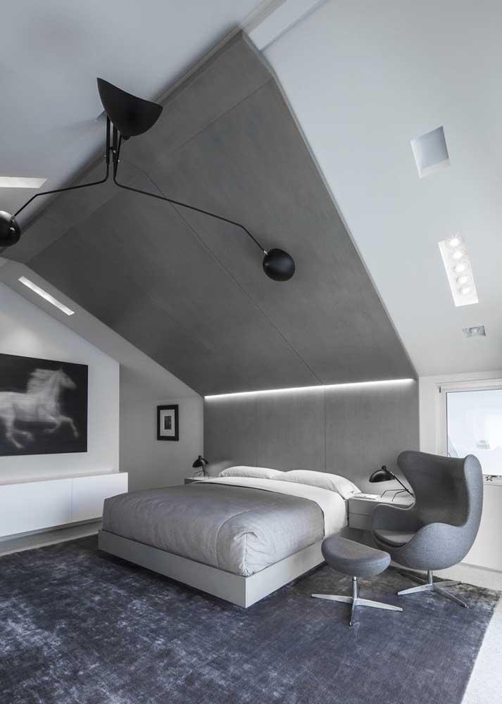 Lâmpadas frias combinando com o quarto minimalista
