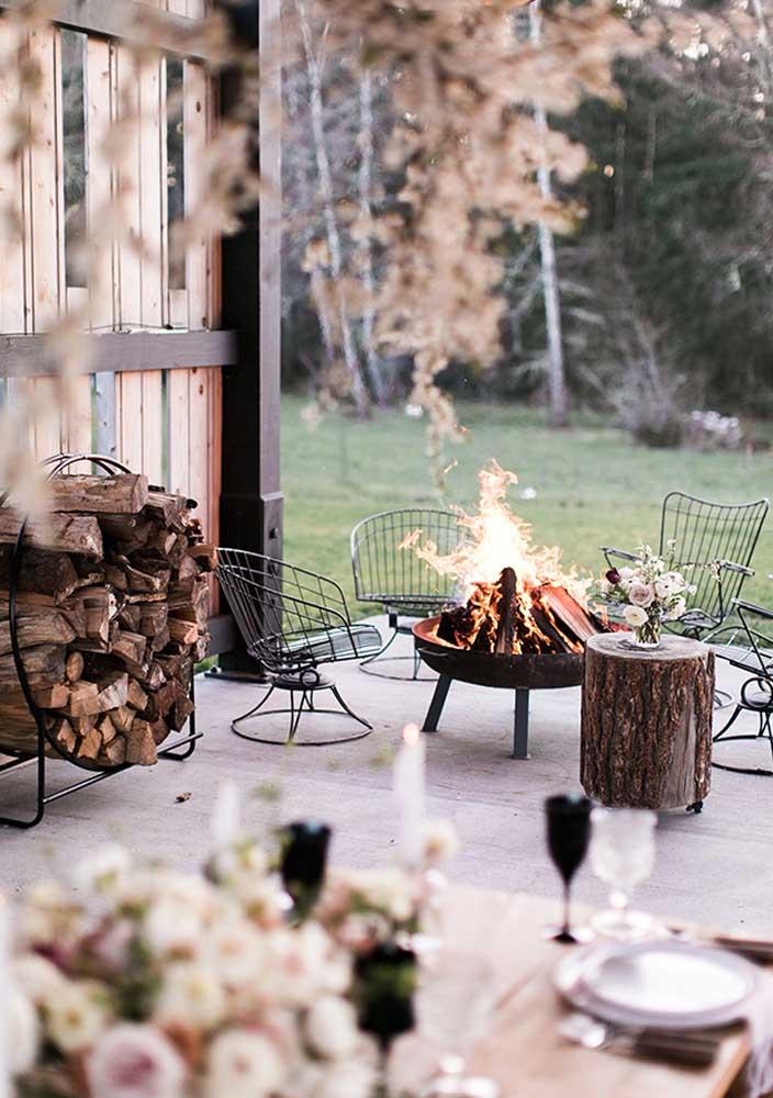 Um dia frio, uma fogueira e um vinho