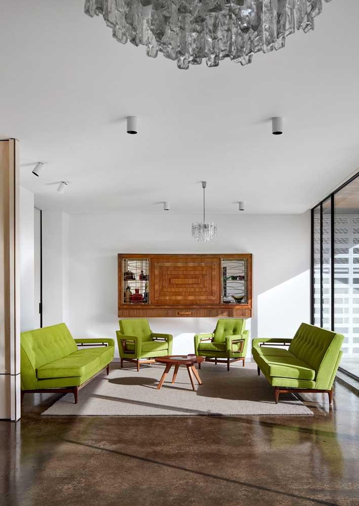 Sala moderna super combina com sofá verde pistache