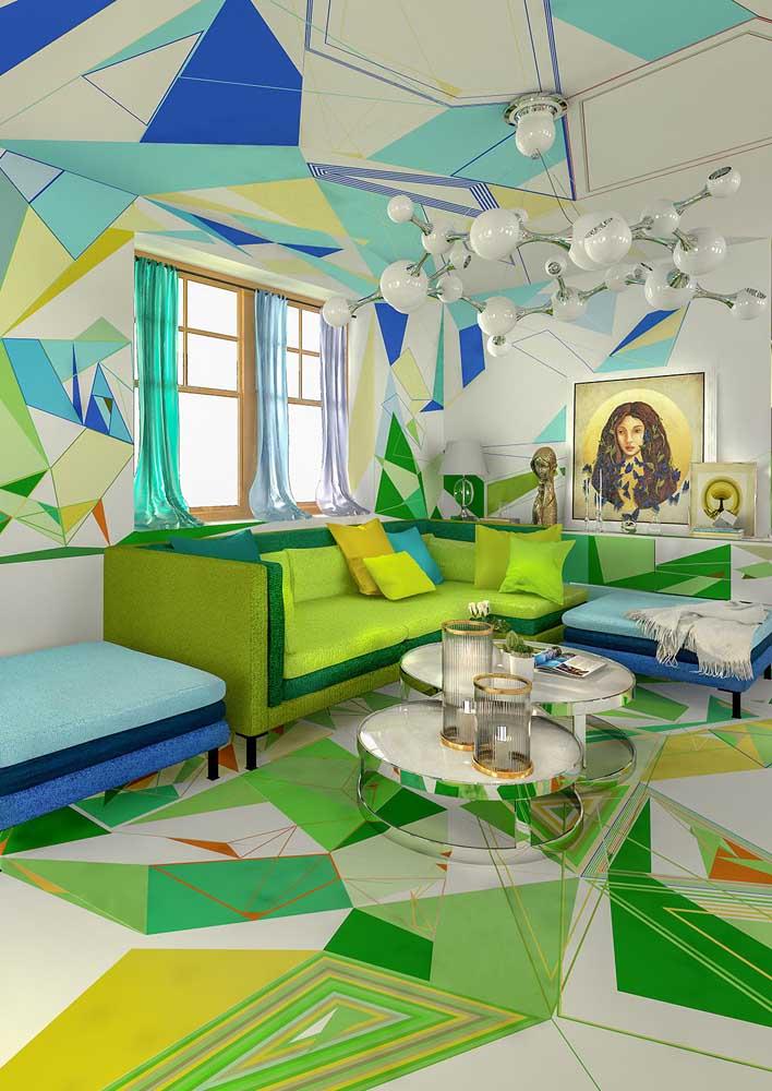 Ousada e conceitual: uma sala que vai muito além do sofá verde