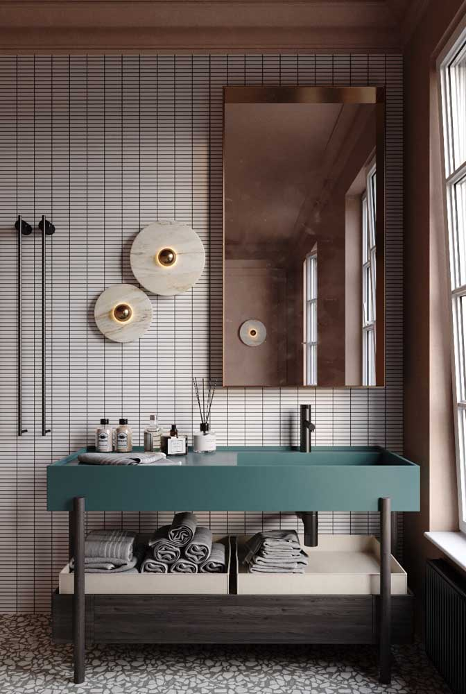 Bancada de pedra sintética para o banheiro moderno