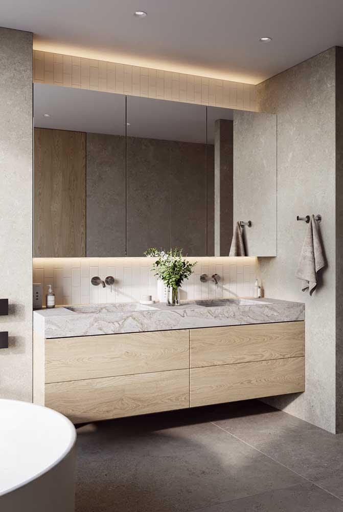 Bancada de mármore para banheiro com gabinete embutido