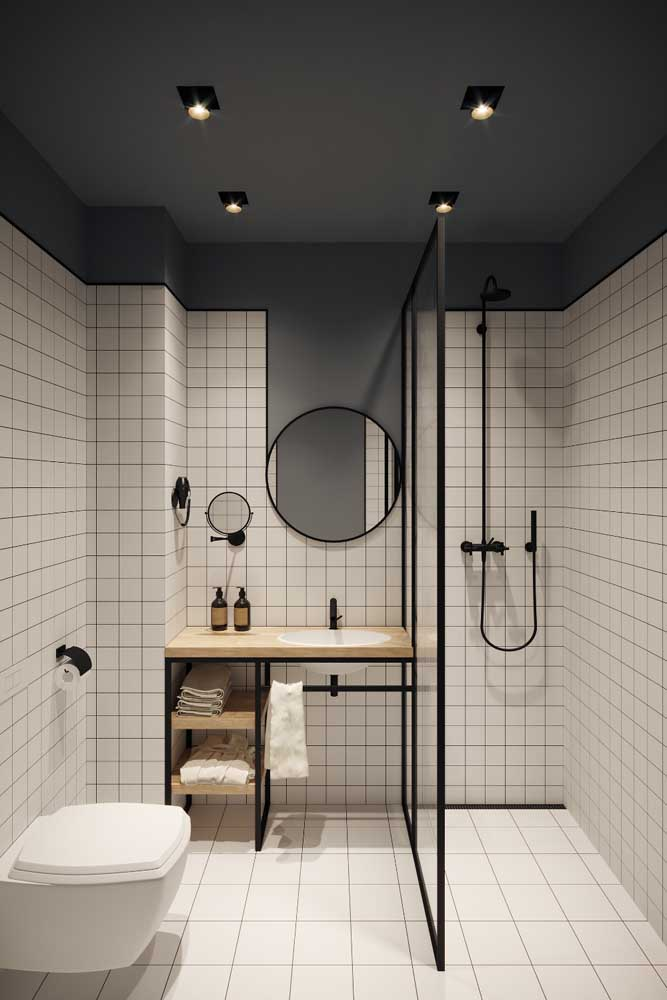 Madeira e metalon para uma bancada de banheiro em estilo DIY