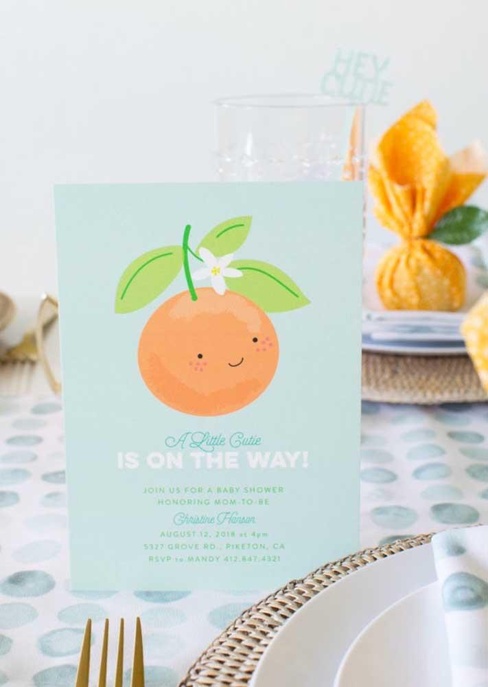 Ideia de convite para chá de bebê simples