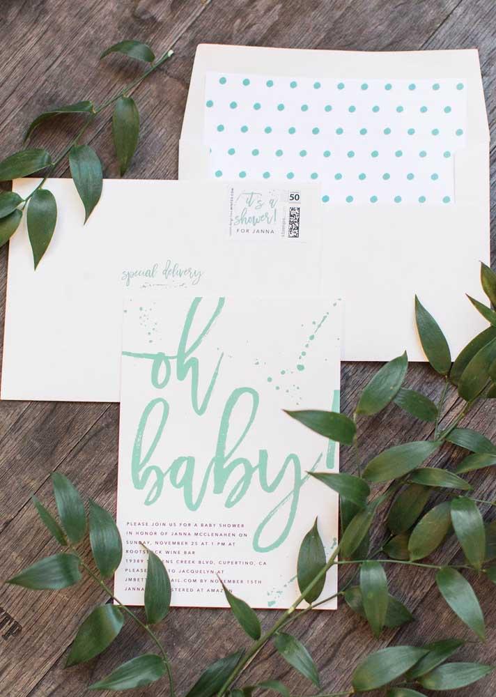 Convite para chá de bebê com tema cactos