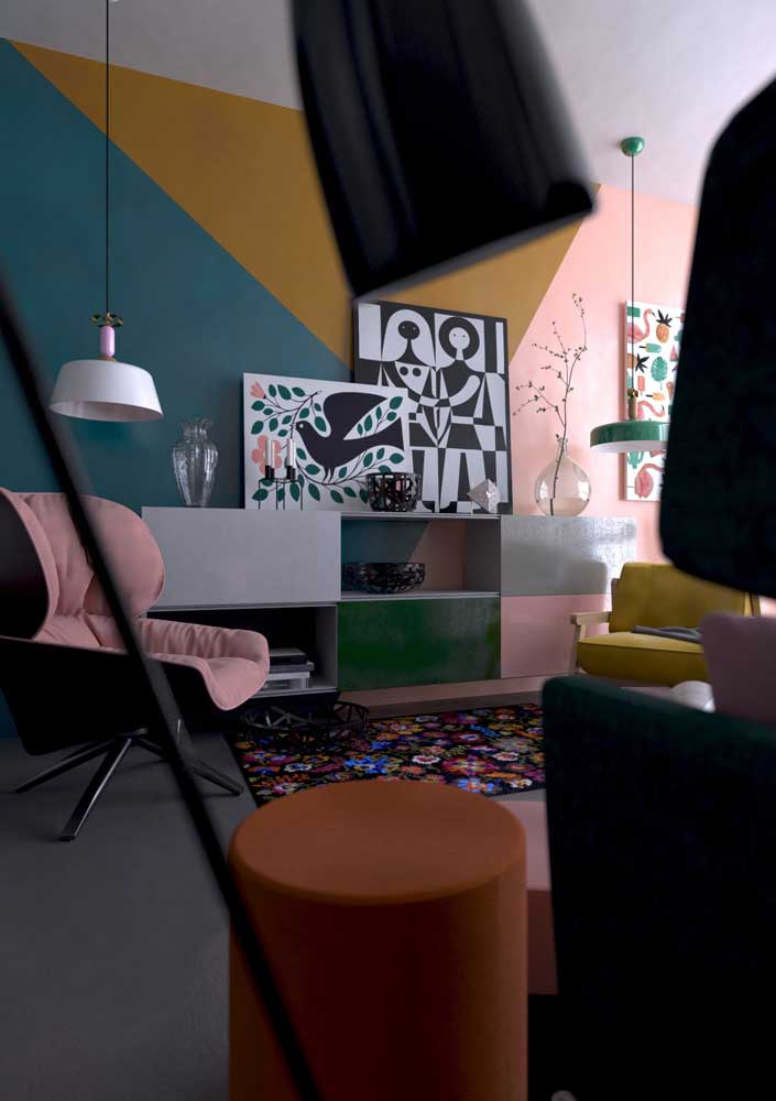 Dupla de lustres para as poltronas da sala de estar