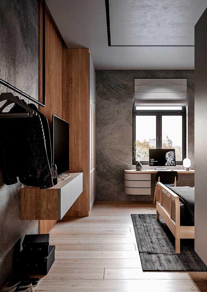 Quarto moderno com textura cinza em todas as paredes