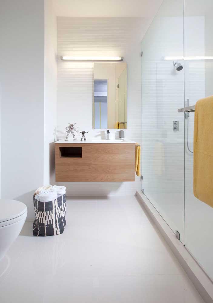 Banheiro com textura, pode? Claro!