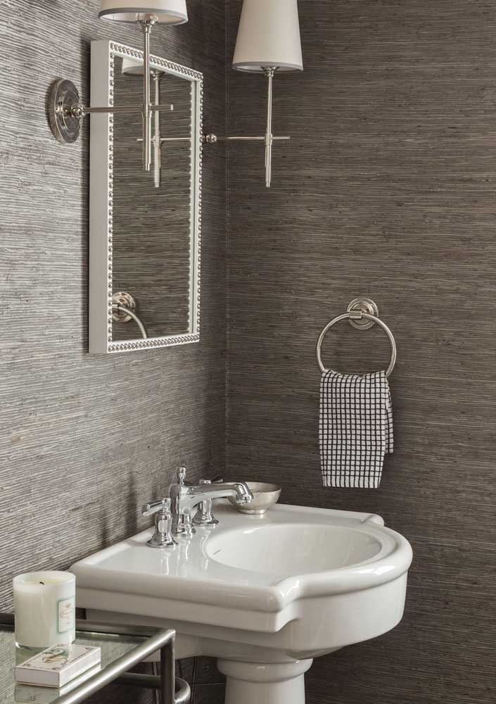 Discrição define a textura usada nesse lavabo
